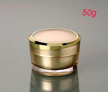 New 50g ACRYLIC gold cream jar ,gold plastic 50 g  cream jar ,50g empty plastic Cosmetic Packaging Cosmetic Jar
