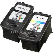 Refillable Canon PG512 Black & CL513 Colour Compatible Ink Cartridges for Pixma MP230, MP240, MP250, MP252, MP260, MP270