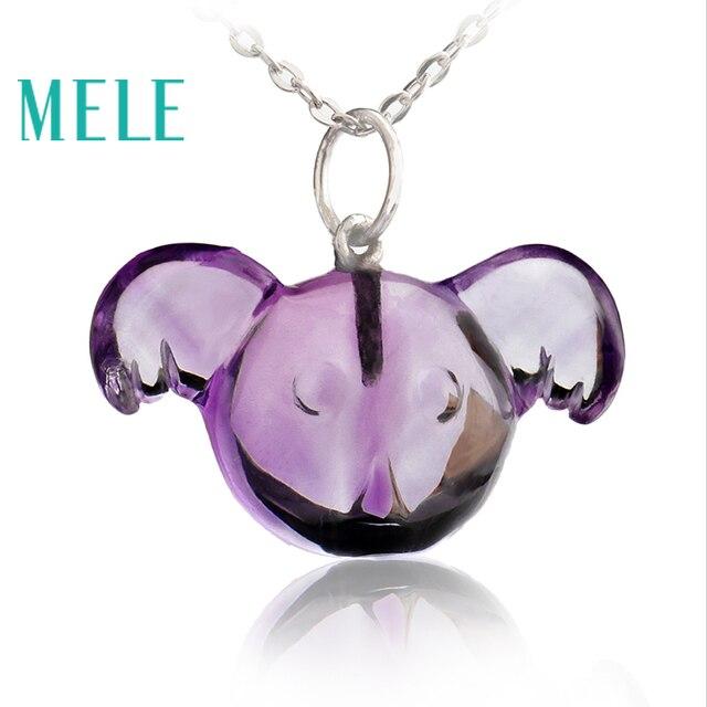 MELE Natural amethyst real 18k gold pendant, Animal Cora Pendant , fashion ladies pendant, trendy and popular