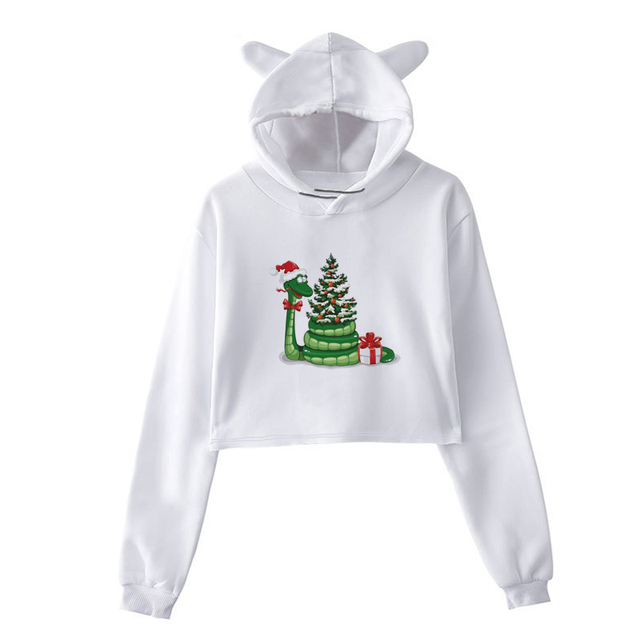 8519b595d2a Autumn Winter 2018 Fashion Women Sweaters Christmas Long Sleeve Female Crop  Tops Plus Size Pullover White