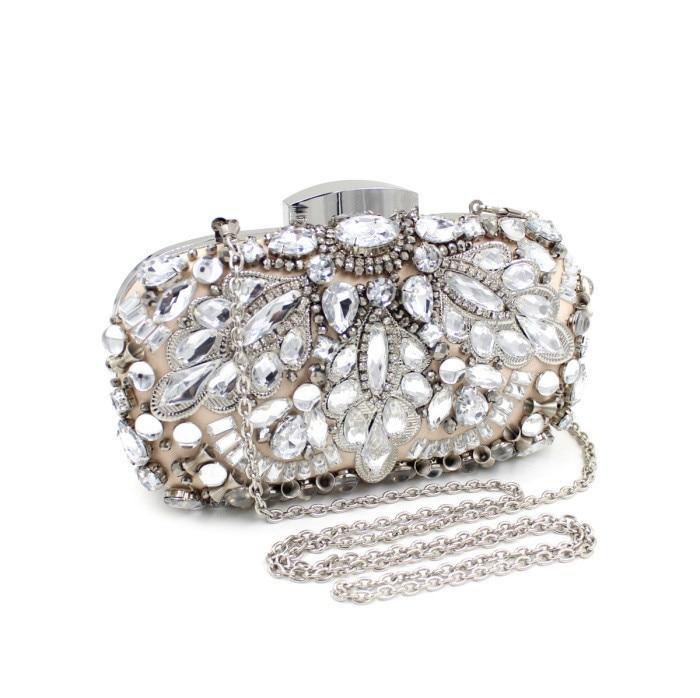 ФОТО Mystic River New Women Luxury Beaded Clutch Handbag Lady Evening Bag Wedding Party Purse Diamonds CHROME Silver