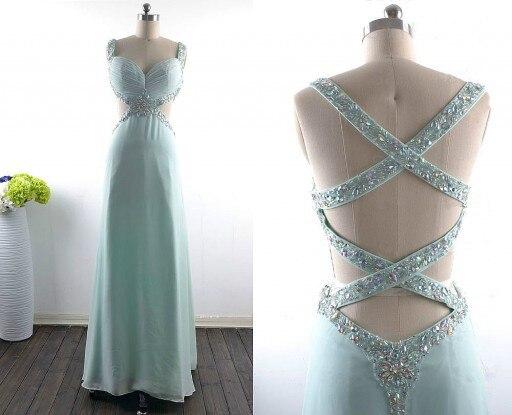 Élégant mode robe de bal a-ligne perles cristaux livraison gratuite Elie Saab longue robe de bal robe de soirée robes Occasion - 2