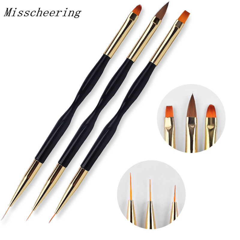New 1pcs Double End Nail Brush Painting Drawing Lines Pen 3D Tips DIY UV Gel Flowers Design Nail Art Books Salon Manicure Tools artlalic 1 wheel new 3d nail decorations tools charm perfume bottle flowers triangle rhinestones diy nail art jewelry promotion