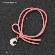 fashion lychee Anime Cardcaptor Sakura Pink Color Rubber Hair Band With Shell Pentagram Star Moon Charms Hair Jewelry(China)