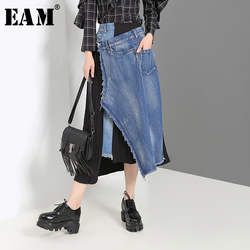 [EAM] Denim Spliced Pleated Irregular High Waist Denim Half-body Skirt Black Women Fashion Tide New Spring Autumn 2019 JZ265