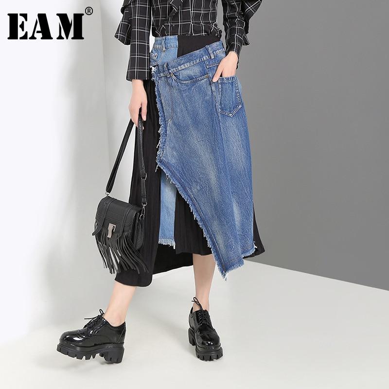 [EAM] Denim Spliced Pleated Irregular High Waist Denim Half-body Skirt Black Women Fashion Tide New Spring Autumn 2020 JZ265