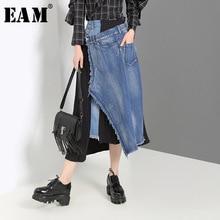 [EAM] Denim Spliced Pleated Irregular High Waist Half-body Skirt Black Women Fashion Tide New Spring Autumn 2019 JZ265