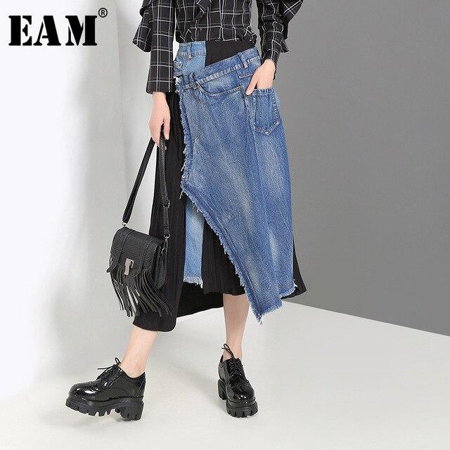 EAM Falda vaquera de cintura alto Irregular para mujer