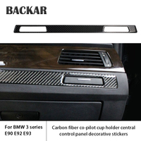 BACKAR Car Styling Central Control Panel stickers Co pilot Water Cup Holders Trim Strip For BMW 3 Series E90 E92 E93 Accessories