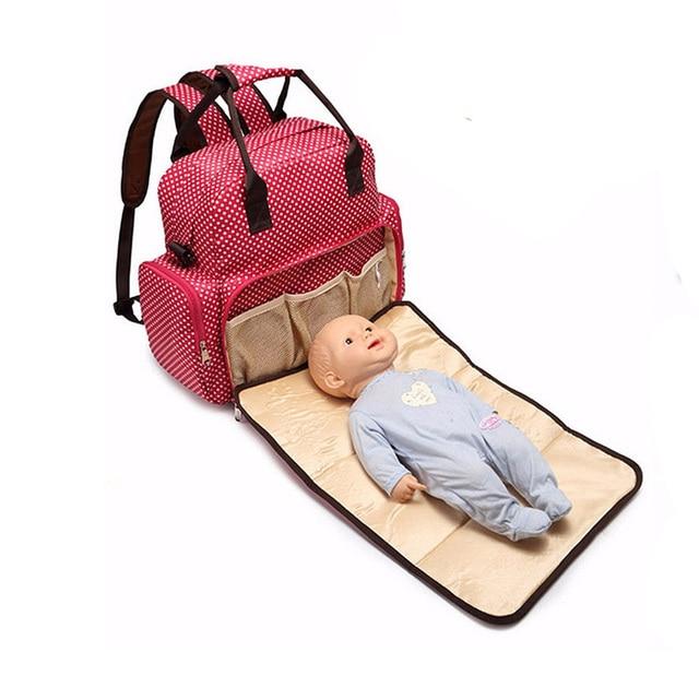 Large Storage Mommy Tote Handbag Baby Diaper Nappy Backpack Changing Bag Polka Dots Handbag Fashionable Durable Shoulder Bag