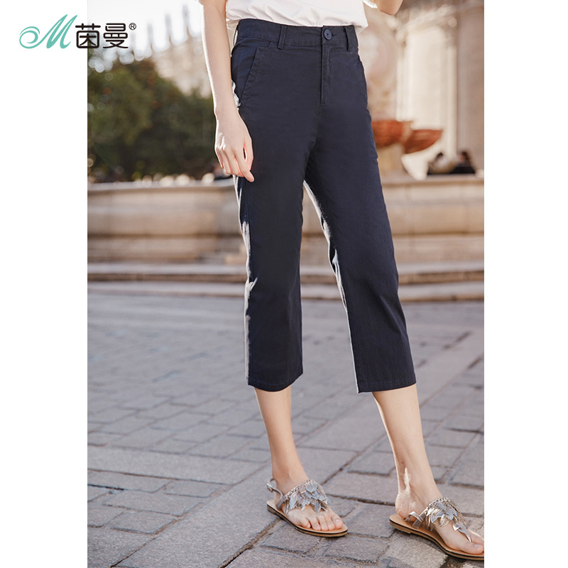 INMAN Summer Fit Pants Cotton Elastic Slim Pants Casual Pencil Feet Pants