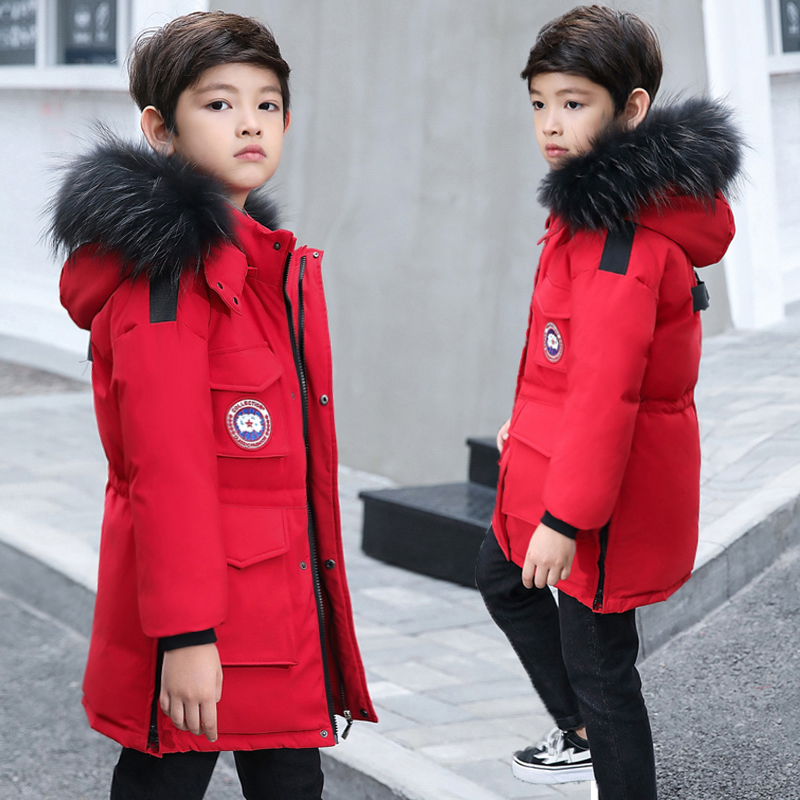 Boy Duck Down Jackets Thicken Warm Winter Coat Baby Boy Parkas Hooded Teenage Kids Natural Fur Parkas Jackets Hooded 7 8 9 10 12 все цены