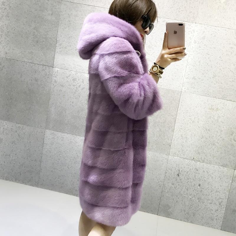 BFFUR Real Mink Fur Coat 2019 New Whole Skin Top Grade Imported Long Mink Coats With Hood Natural Fur Coats Fashion Slim Striped