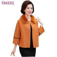 Winter Middle Age Women Woolen Jacket 2018 Pure Color Fine Warm Wool Coat Short Leisure Fur Collar Plus Size Overcoat 3XL B117