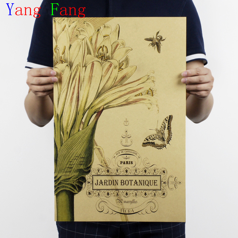 a3bd76a12ffbd Nostalgia herbaceous plant painting vase for Cafe Coffee Kraft Paper Poster  vintage Wall Sticker Antique 51x35CM