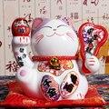 5-дюймовая японская керамическая статуя Манеки Неко  фарфоровая статуя счастливого кота  денежная коробка  Фортуна кота фэн шуй  украшение д...