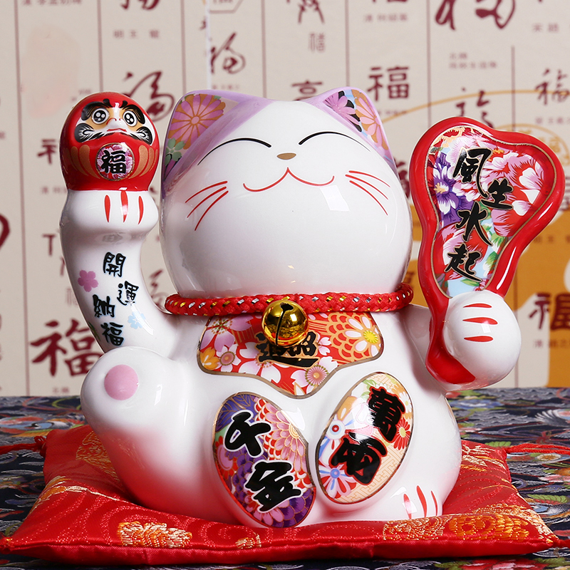 5 Inch Japanese Ceramic Maneki Neko Statue Porcelain Lucky Cat Money Box Fortune Cat Feng Shui Home Table Decoration Gifts