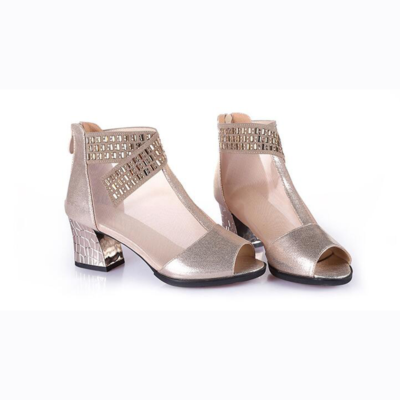 caab45ce3c1 Women s Boots Comfort Cowhide Casual Comfort Chunky Heel Fashion Boots  Women s Block Heel Ankle Shoes Gold Black Peep Toe Summer-in Ankle Boots  from Shoes ...