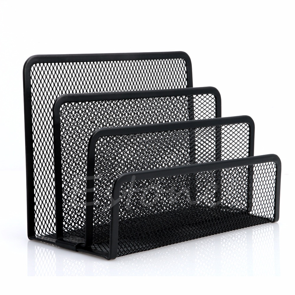 Business Paper Tray Document File Holders Metal Mesh Mail Brochure Letter Sorter Organizer For Front Desk Exhibition Trade Show Elegant Shape File Tray
