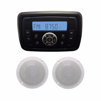 "Marine Audio MP3 Radio FM AM Bluetooth Music Stereo+1 Pair 4"" 2 Way Marine Boat Waterproof Speakers for Car Outdoor Marine Boat"