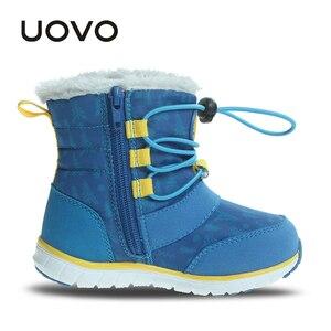Image 3 - UOVO 2019 Snowboots Kinderen Winter Laarzen Jongens Waterdichte Schoenen Mode Warm Baby Laarzen Voor Jongens Peuter Schoenen Maat 23 # 30 #