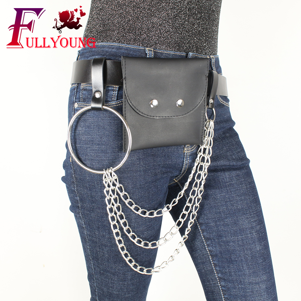 The Cheapest Price Fullyoung Sexy Leather Harness Waist Belt For Women Punk Harajuku Big O Ring Waistband Metal Black Belt Harness Metal Hoop Belt Apparel Accessories