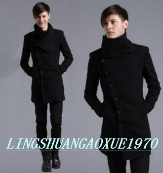 Hot sell ! Black autumn winter casual High quality wool coat men coat Single-breasted overcoat men trench coat youth M – 3XL
