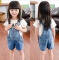 Venta caliente de Los Niños Ropa de verano Niñas niños Overol de Mezclilla Azul Jeans Trajes Para bebés Niños Niñas Mamelucos Envío Gratuito