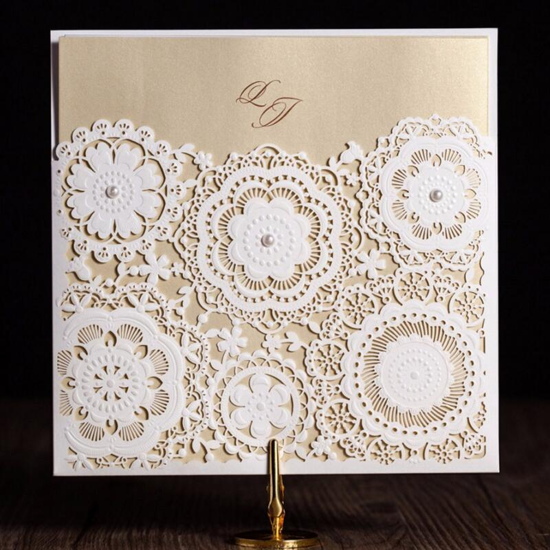 50pcs/pack Laser Cut Wedding Invitations Kits Flower Elegant Cardstock with Pearly Baby Birthday Cards for Party Favors Supply