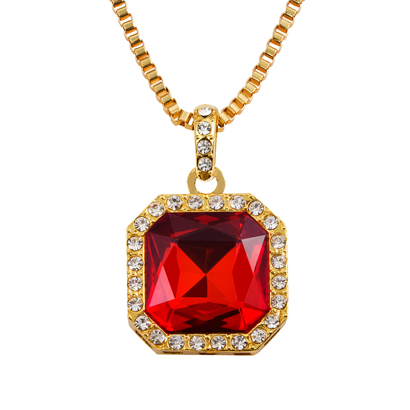 Mens Iced Out Hip Hop red Square Pendant Necklace Red Stone Charm Cuban Link Chain Women Necklaces Gold Rich Gang Birdman N212r