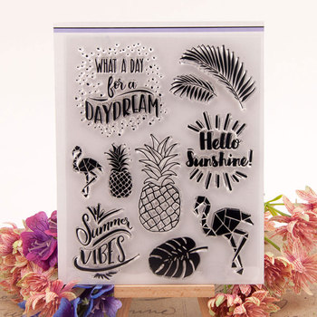 Flamingo Pineapple Daydream Transparent Clear Silicone Stamp for Seal DIY Scrapbooking Photo Album Decorative Clear Stamp Sheets image