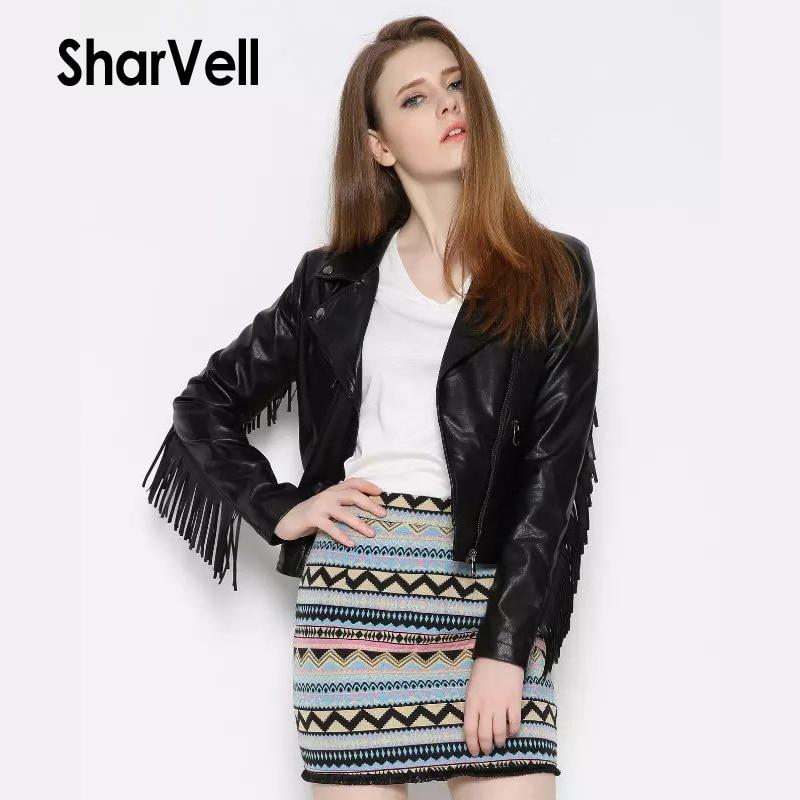 Sharvell Women Spring Polyurethane Diagonal zipper Jackets Moto&Biker Pu   Leather   Slim Coat Fashion Tassel   Suede   Jacket Outwear