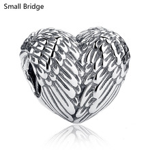 Fashion 925 Sterling Silver Charm Heart Beads For Jewelry Making Two Hole European Bracelet Female Symbol DIY Spacer