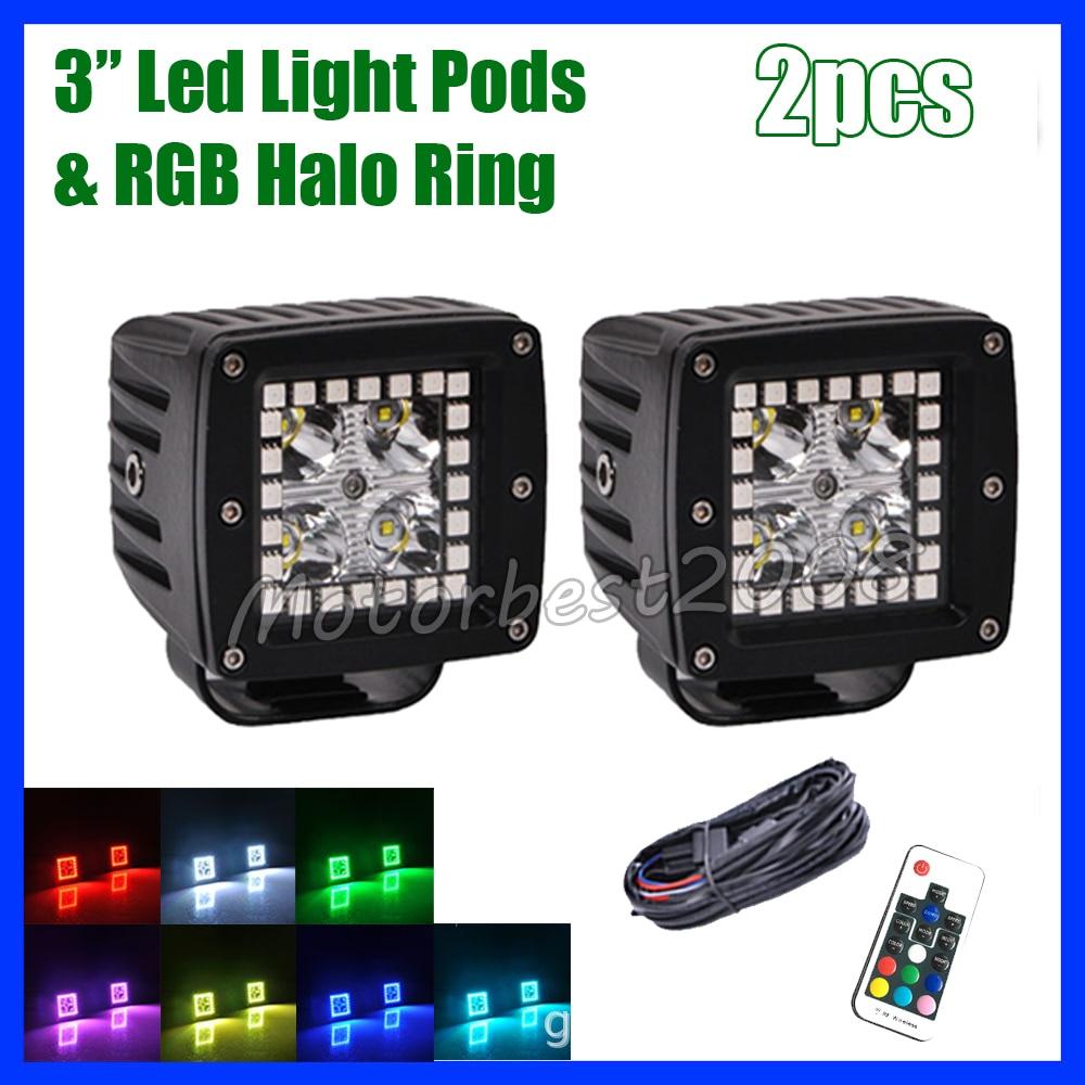 Pack 2 3 pouces Led travail barre lumineuse Pod Cubes avec multicolore RGB ange yeux HALO anneau stroboscope contrôlé pour Jeep ATV SUV moteur 4WD