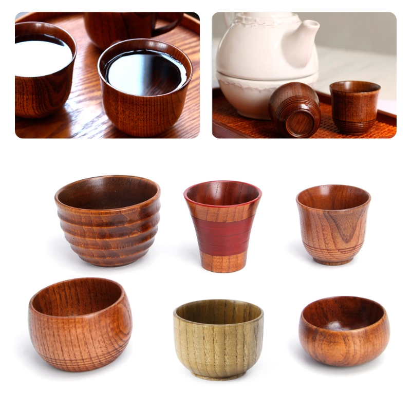 VFGTERTE 1PC Small Handmade Natural Solid Wood Tea Tumblers Wooden Wine Coffee Water Drinking Tools Home Office 8 Styles Кубок