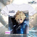 Japanese Anime Encabeça Final Fantasy YUNA Cosplay camiseta 2016 Homens Da Moda Camisetas Cloud Strife Curto Da Luva Camisas Casuais T