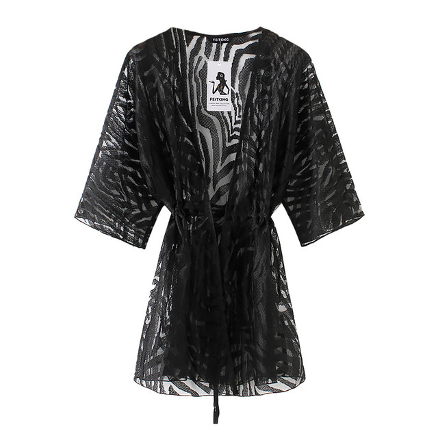 2019 Women Lace Mesh Solid Cardigan Bikini Beach Cover Up Perspective Crochet Kaftan Beach Dress Swimsuit Beach Wear Pareo Playa 3