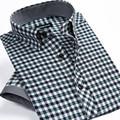 Mens Korean Slim fit Pin Check Dress shirt Summer Style Checkered Short Sleeve Casual Shirts men Fashion Plaid shirts XXXL China