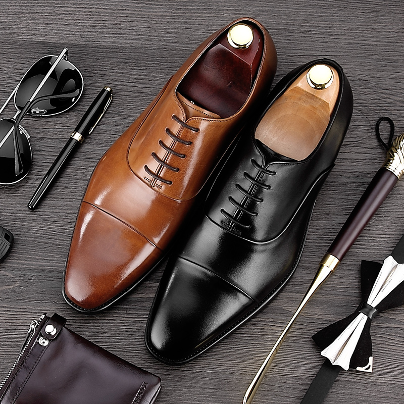 Luxury Brand Man Cap Top Wedding Shoes Male Genuine Leather Dress Party Oxfords Pointed Toe Formal Men's Handmade Flats MG26 men s pu leather wedding flats new british men shoes fashion man pointed toe formal wedding shoes male dress shoes