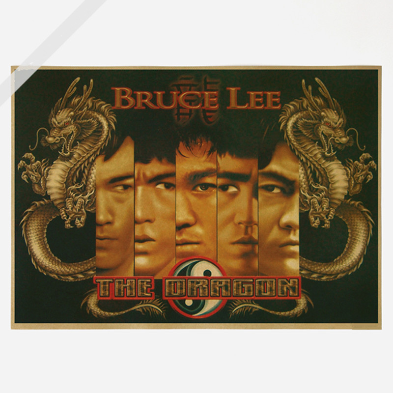 Bruce lee The Dragon Wall Sticker 42*30 CM Vintage Wall Art Poster Shabby Chic Painting Home Decoration Accessories