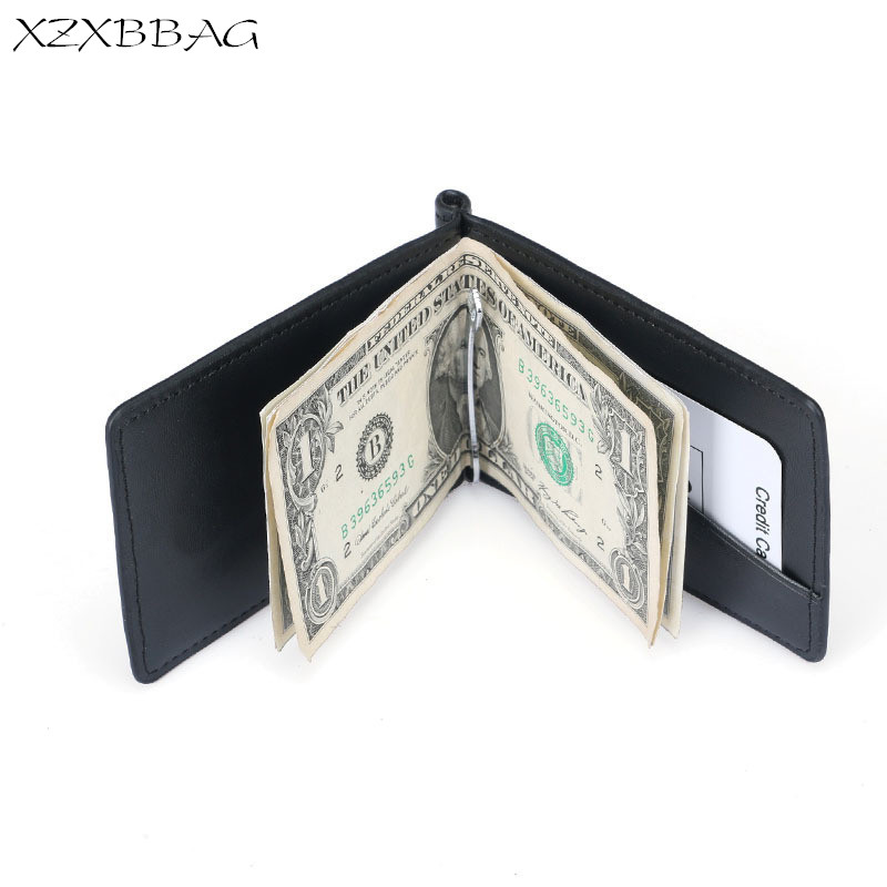 XZXBBAG Men Business Folding Wallet Male Fashion Money Clips Credit Card ID Holders Dollar Clip Cash Clamp Mini Purses Card Bag