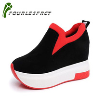 2018 Женщины увеличили обувь Женская мода Платформа Loafers Печатная Повседневная обувь Женщина Wedges Обувь Breathable Black Red 35-39