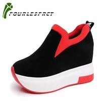 2018 Frauen erhöhte Schuhe Frauen Mode Plattform Loafers Printed Freizeitschuhe Frau Keile Schuhe atmungsaktiv schwarz rot 35-39