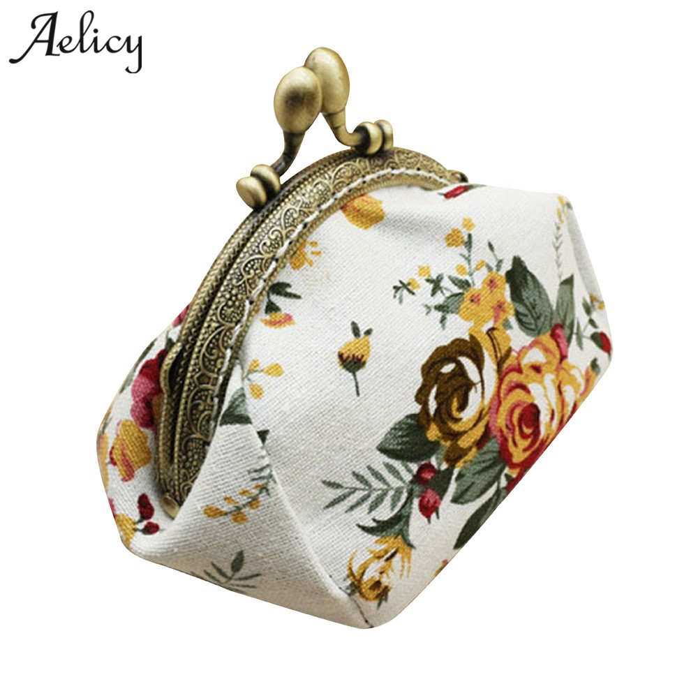 Aelicy High Quality Women Wallets Brand Designer Purse and Handbags Canvas Retro Floral Small Change Coin Purse Clutches Bag