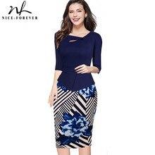 Nice-forever осень с цветочным принтом в стиле пэчворк, на пуговицах Повседневные платья Бизнес «три четверти» и застежкой-молнией на спине летняя деловая модельная одежда b288