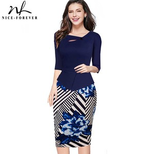 Nice-forever Autumn Print Floral Patchwork Button Casual Dress Business Three Quarter Zip Back Bodycon Summer Office Dress b288