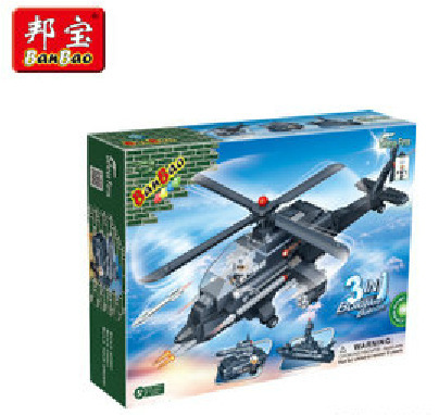 Creative power quality dynamic inserting small particles blocks toys 3 1 Apache fighter 8478