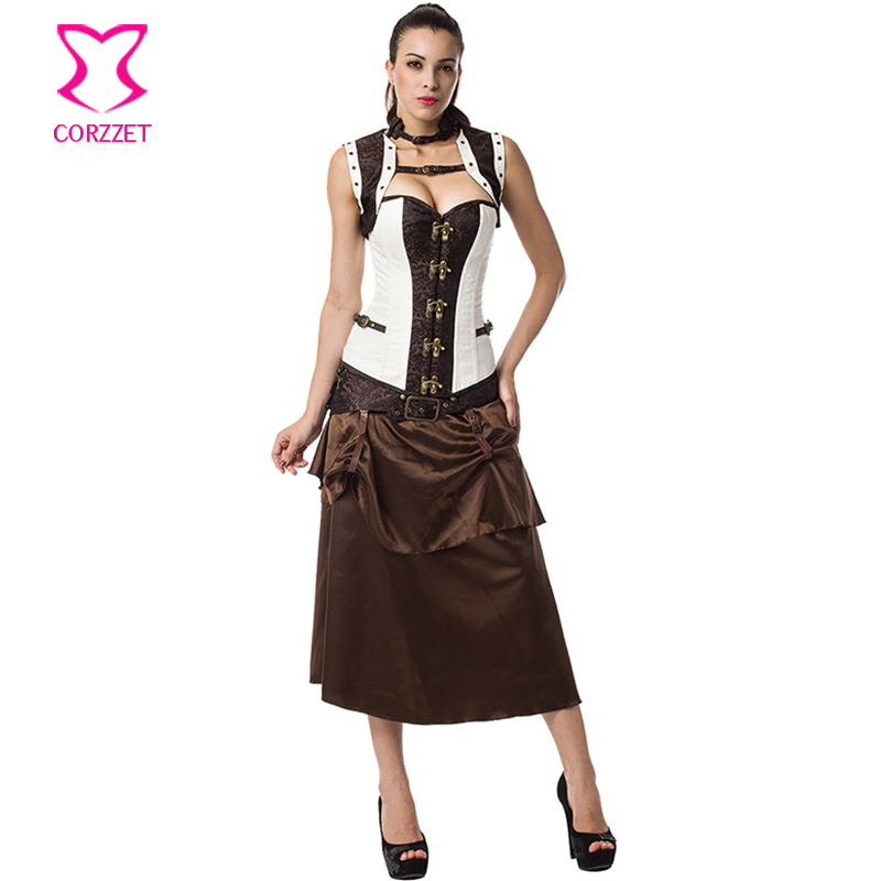 Brown & White 6XL Plus Size Women Vintage Gothic Clothing Corsets And Bustiers Steampunk Corset Dress Sexy Burlesque Costumes