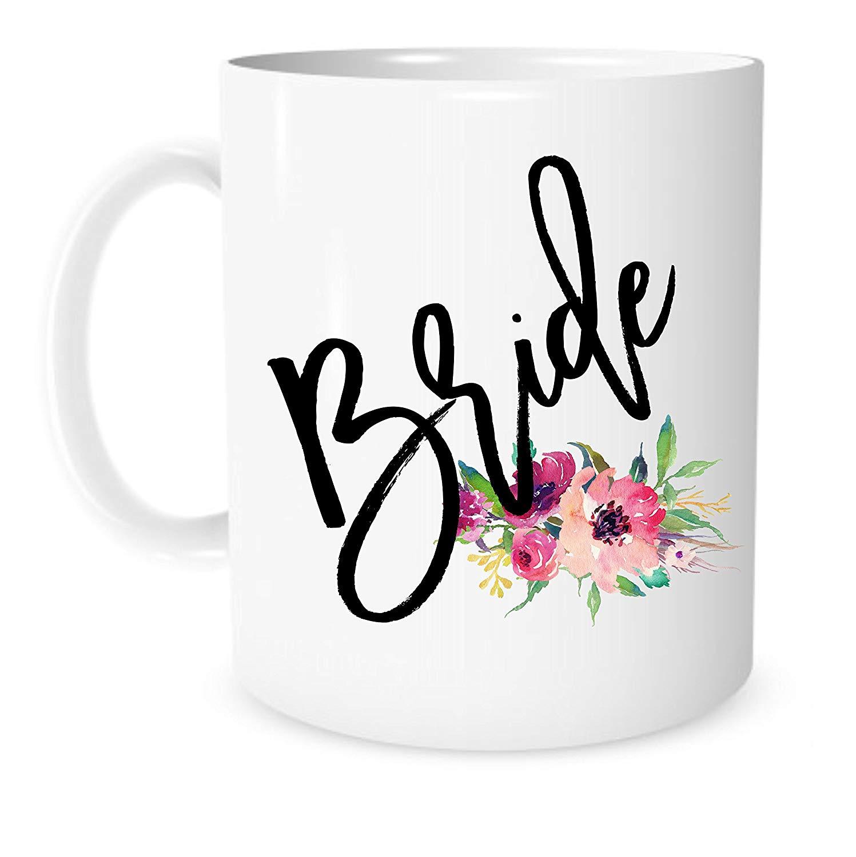 Wedding Gift Mugs: Bride Mug 11 Ounce White Ceramic Coffee Tea Mug Engagement