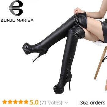 BONJOMARISA/Большие размеры 34-46, модные ботфорты выше колена, Женская Осенняя пикантная обувь на высоком тонком каблуке, женская обувь на платфор...